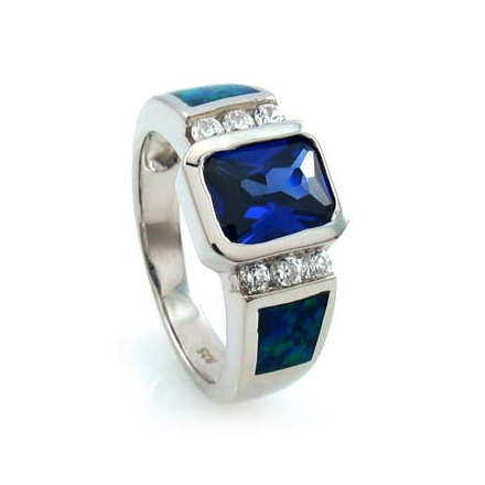 Tanzanite and Australian Opal Ring in .925 Silver