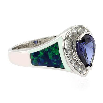 Elegant Opal and Tanzanite Ring