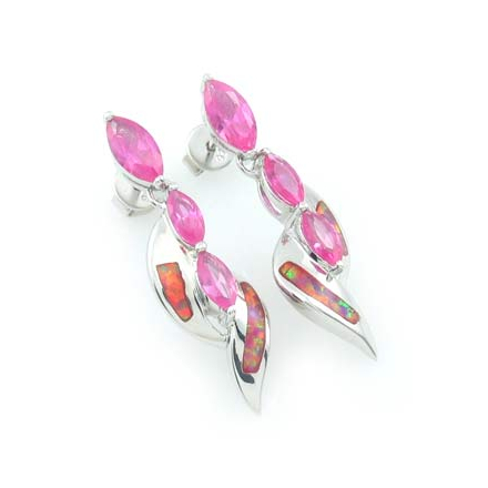 3 Stone Pink Sapphire and Pink Opal Silver Earrings