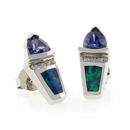 Trillion Cut Tanzanite Australian Opal .925 Silver Earrings
