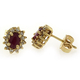 Authentic Red Ruby with Diamonds 14K Yellow Gold Earrings
