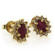 14K Yellow Gold Genuine Ruby with Diamond Earrings