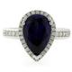 High Quality Pear Cut Blue Sapphire Silver Ring