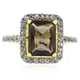 Authentic Emerald Cut Smoked Topaz Gold Plated Silver Ring