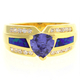 Australian Opal with Tanzanite Ring in 14k Gold Plated Silver