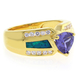 Blue Opal with Tanzanite Gold Plated Silver Ring
