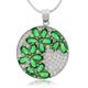 Micro Pave Emerald Flower Silver Pendant