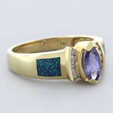 Blue Opal with Tanzanite Yellow Gold RIng in 14K