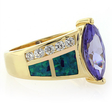 14k Gold Plated Blue Opal Ring with Tanzanite