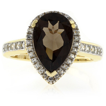 Pear Cut Smoked Topaz Sterling Silver Ring