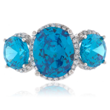 3 Stone Blue Topaz Sterling Silver Ring