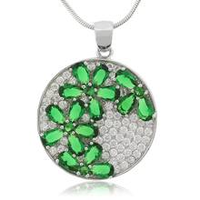 Micro Pave Emerald Flower Silver Pendant