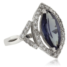 Marquise-Cut Color Change Alexandrite .925 Silver Ring