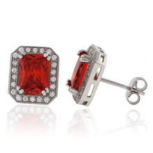 Square Cut Mexican Cherry Opal Silver Studs