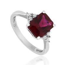 Red Ruby Emerald Cut Stone Ring