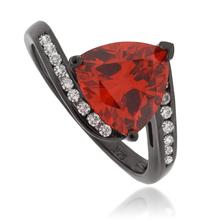 Trillion Cut Mexican Fire Opal Black Silver Oxidized Ring