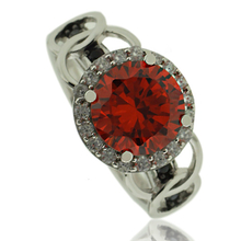Fire Opal Ring in Round Cut with Sterling Silver and Zirconia