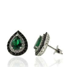 Sterling Silver Earrings With Emerald Gemstones in Drop Cut