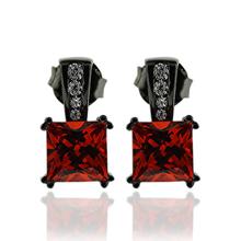 Fire Opal Earrings In Princess Cut with Black Silver.