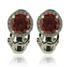 Beautiful Silver Earrings With Fire Opal Gemstone In Round Cut and Zirconia