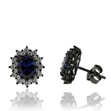 Black Silver & Tanzanite Earrings in Oval Cut