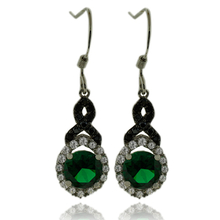 Beautiful Sterling Silver Earrings With Emerald Gemstone in Round Cut and Zirconia.