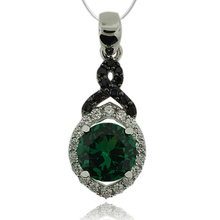Beautiful Sterling Silver Pendant With Emerald Gemstone in Round Cut and Zirconia.