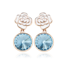 Earrings with 18K Rose Gold Blue