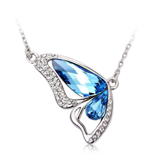Aquamarine Butterfly Necklace