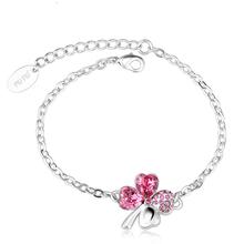 Pretty Swarovski Bracelet with Pink Clover