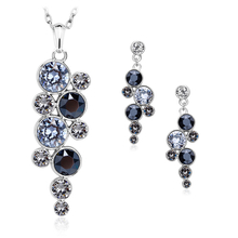 Cute Black Circle Necklace and Earrings Set
