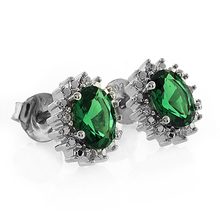 Oval Cut Emerald .925 Silver Earrings