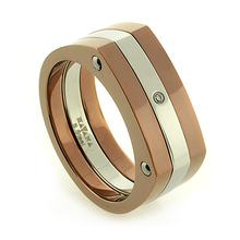 Havana Stainless Steel Diamond Accent Ring