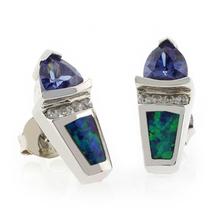 Trillion Cut Tanzanite Australian Opal Silver Post Back Earrings