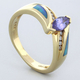 14k Solid Yellow Gold Australian Blue Opal Tanzanite Ring